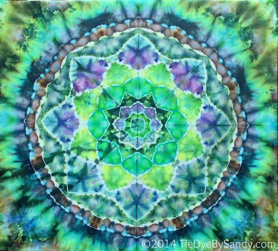 Tie-Dye Wall Hanging- Earthy Green Lotus Mandala- Turtle Shell Tapestry