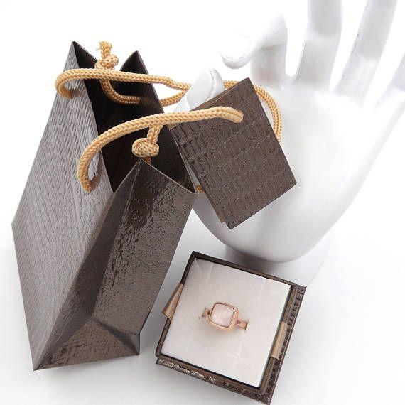 Anello da donna in argento 925 colore oro rosa con quarzo