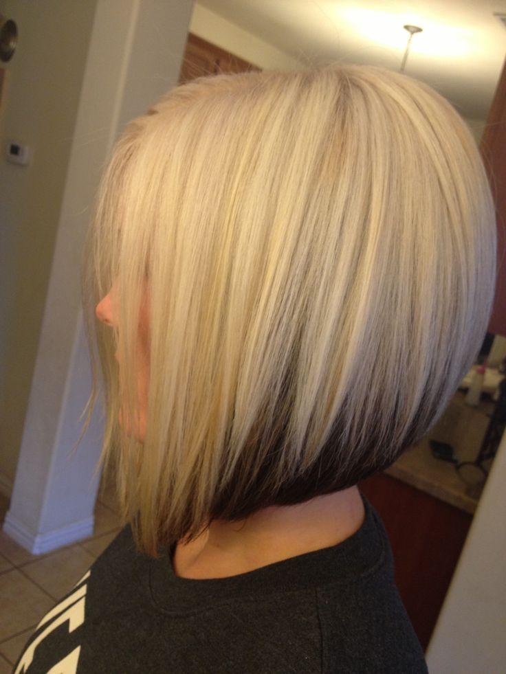 Platinum blonde bob with dark brown underneath
