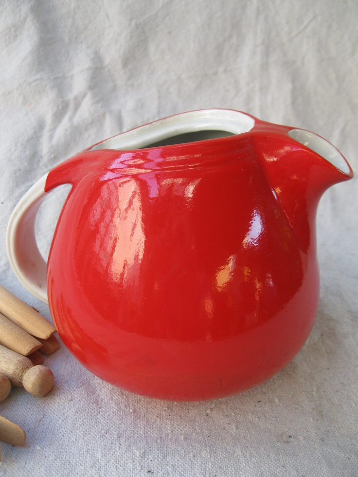 Vintage Chinese Red Pitcher //Hall Pottery// White from Tessiemay