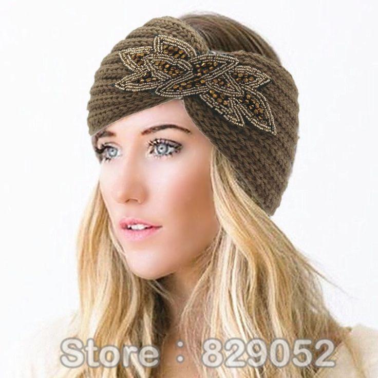 Frauen Perlen Strickwolle Stirnbänder Boho Blume Turban Kopfverpackung Bandage Winter Ohr-wärmer Hairband Mädchen Haar Zubehör
