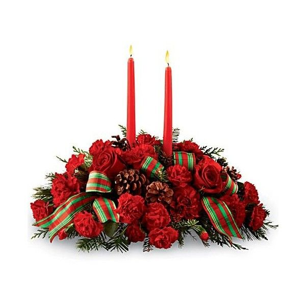 Continued Classic Christmas Centerpiece (€49) ❤ liked on Polyvore featuring home, home decor, holiday decorations, christmas flower, red candle, red rose, flower centerpieces, red centerpieces, red rose centerpieces and red flower centerpieces