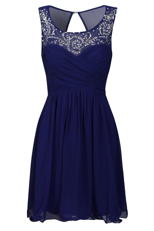 Cobalt Embellished Neckline Dress