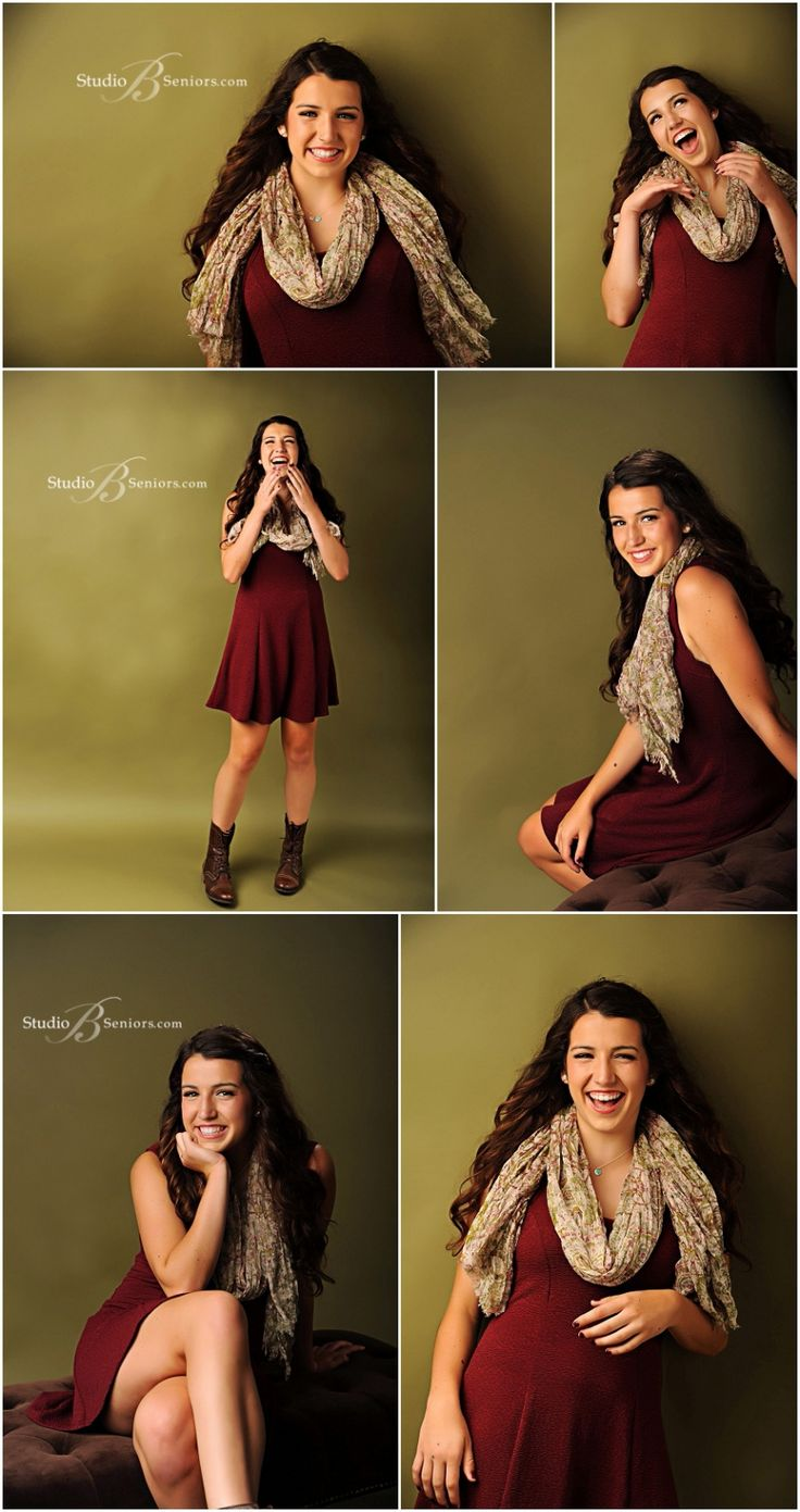 Best senior pictures of girl in red dress and fall scarf__Brooke Clark_Studio B Portraits