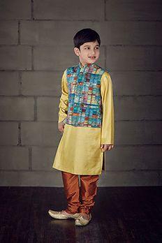 Silk kurta churidar with digital print jacket highlighted with contrast buttons by #Benzer #Benzerworld #Kurta #Kidswear #KidsKurta