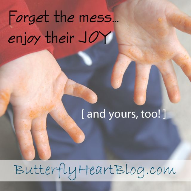 Do you see work where your kids see fun? Sometimes we just have to let go...even when cheesy fingers are involved. From Butterfly Heart Blog by Kellee.
