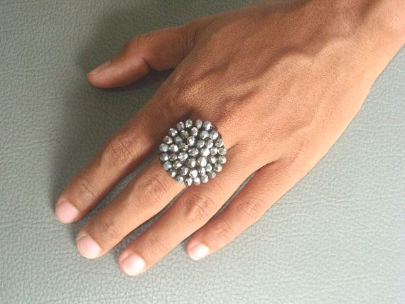 BEADED  crochet RING in SPARKLY gray glass by ExtravaganzaBali   $8.90 USD