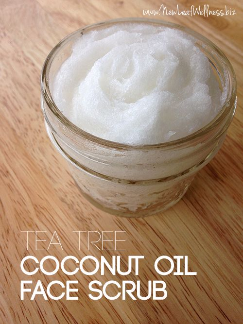 1/2 cup organic coconut oil  1/4 cup sugar 10 drops organic tea tree essential oil To Use Massage into your face with circular motions for 30 seconds. (Avoid hairline so it doesn't get greasy.) Rinse and pat dry. The oil will absorb immediately and you'll be left with soft, sweet-smelling skin.