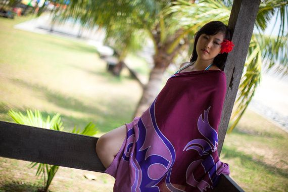 Beach wrap Skirt cover up -  small short mini sarong, pareo - bridesmaid beach gift ideas in shades of purple, bordeaux, ruby red wine