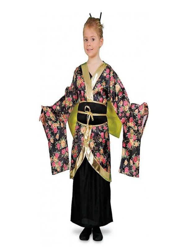 El disfraz de geisha estampada niña, incluye Vestido, cinturón y lazo. en DisfracesMimo.com
