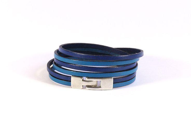 Bracelet cuir bleu - 2 lanières 3mm - 3 tours - Bracelet cuir femme : Bracelet par bracelets-cuir