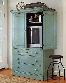 paint tv armoire blue