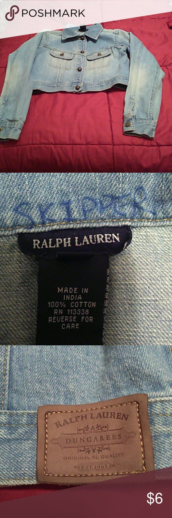 Ralph Lauren Polo Jacket Boys M/ Worn blue denim jacket. If your child is not named Skipper and you care that the previous owner put the name on the inside collar then this jacket is not for you. Price reflects indelible ink (Skipper name). Inventory#0106 Ralph Lauren Jackets & Coats Jean Jackets