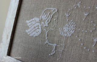 Angel with dandelions, cross stitch