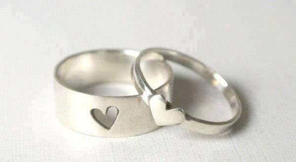 Tiny Heart Couples Rings Lanjewelry Yellow Gold