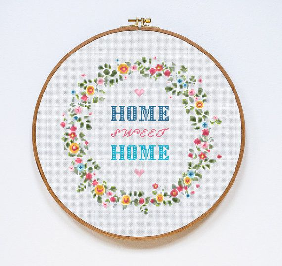 Home Sweet Home! CONTENT  Pattern includes: - a PDF pattern, black and white symbols with DMC colors map; - a PDF pattern, symbols over colors with