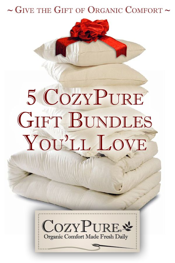 Give yourself or a loved one an organic bedding gift bundle from CozyPure Organic Mattresses and Bedding, handcrafted daily. #gift, #organic, #cozypure, #sleep, #sleepgift, #handcrafted, #comfort