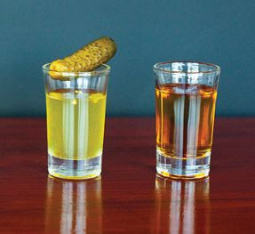 Pickle Shots!!! This recipe calls for Jameson, I usually use vodka and pickle juice half and half, garnished with a pickle....Mmm. My favourite shot!!