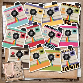 Free -U printables by RebeccaB - Polaroid Cameras