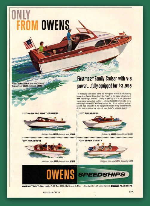 1957 Owens Boat vintage magazine ad ephemera by catchingcanaries