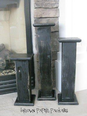 DIY wood block {candlesticks}