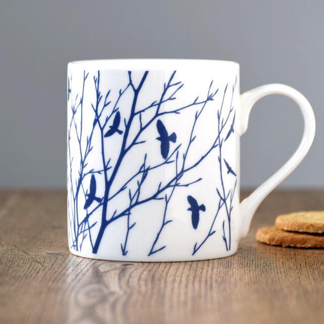 Fine bone china flock of birds & branches blue and white mug by TheWaytoBlue on Etsy https://www.etsy.com/listing/573335171/fine-bone-china-flock-of-birds-branches