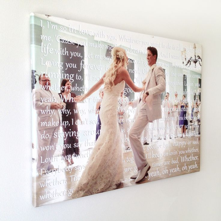 Wedding Photo With Song Lyrics In Back Of The On Canvas Home Decor Sign