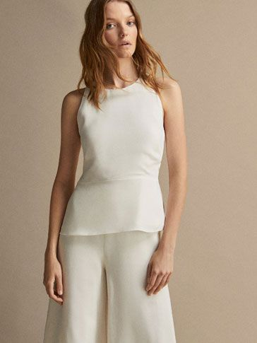 b27bc214a5 TOP WITH CRISS-CROSS TIE DETAIL AT THE BACK - Women - Massimo Dutti ...