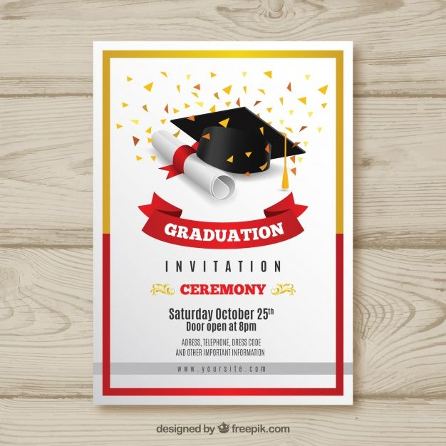 Download Elegant Graduation Invitation With Realistic Design For