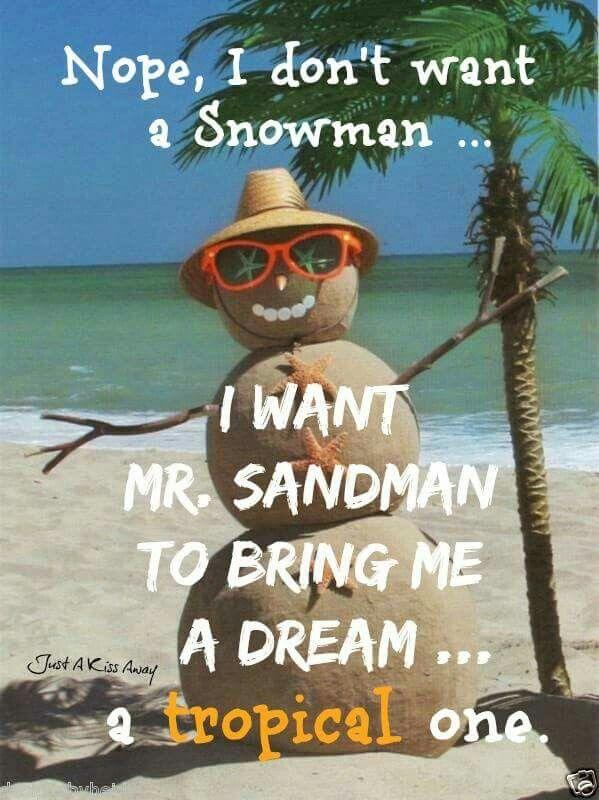I don't want a Snowman⛄ I want Mr. Sandman to bring me a dream...a tropical one ✌
