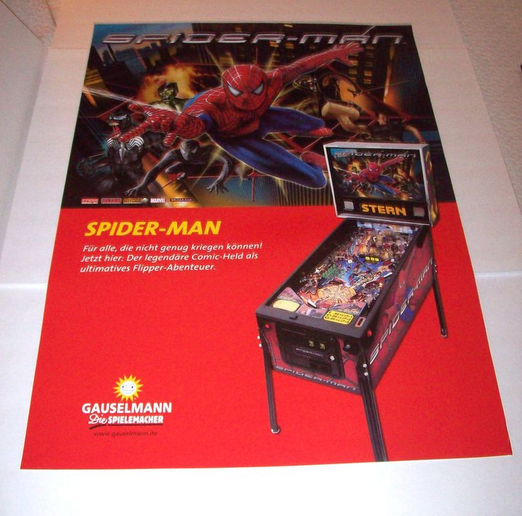 "Stern SPIDERMAN Original German Pinball Machine 33.25"" X 23.75"" Promo Art Poster #SternSpiderman"
