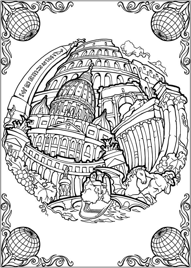 BLISS CITIES Coloring Book: Your Passport to Calm by: David Bodo - Coloring Page 6