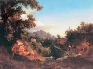 Lovers in Italian Landscape 1853 by Karoly Marko The Younger
