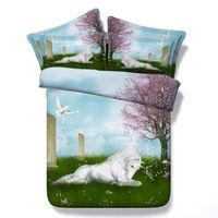 White Horse Crouching on Grass Printing 4 pcs Duvet Cover Sets Ropa De Cama Fundas De Edredon 3D Bedding sets Super king size