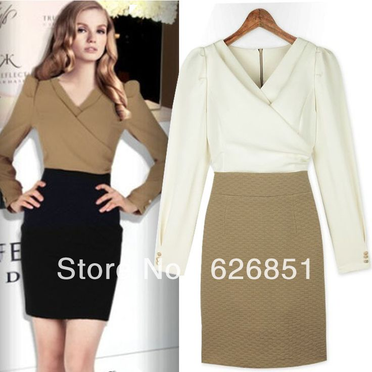 Free Shipping 2014 Long-Sleeve Dress Women's Slim Hip Patchwork Elegant White and Black Business Wear One-Piece Dress for Woman  $35.71