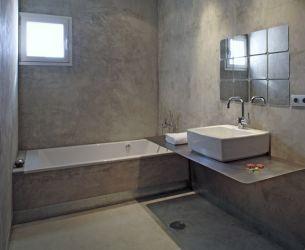 Badkamer renovatie microcement kan over tegels 2014 verbouw plannen pinterest bath - Badkamer beton wax ...