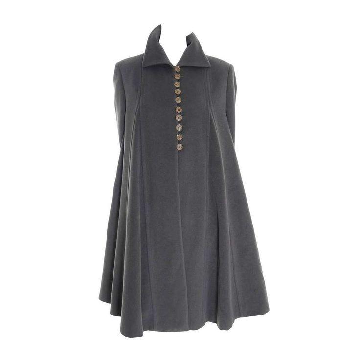 Giorgio Armani Vintage Swing Coat Gray Cashmere Wool Angora Vestimenta Spa 1