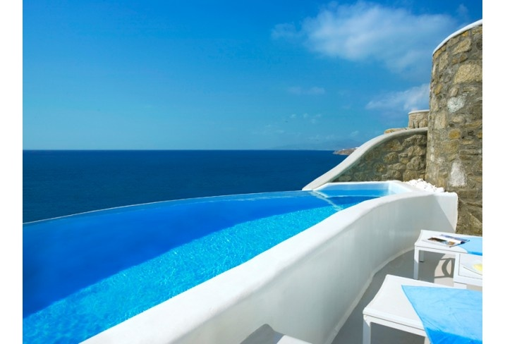 I can't decide if I'll take a dip in the pool or the sea. Maybe both.  [Cavo Tagoo, Mykonos, Greece]