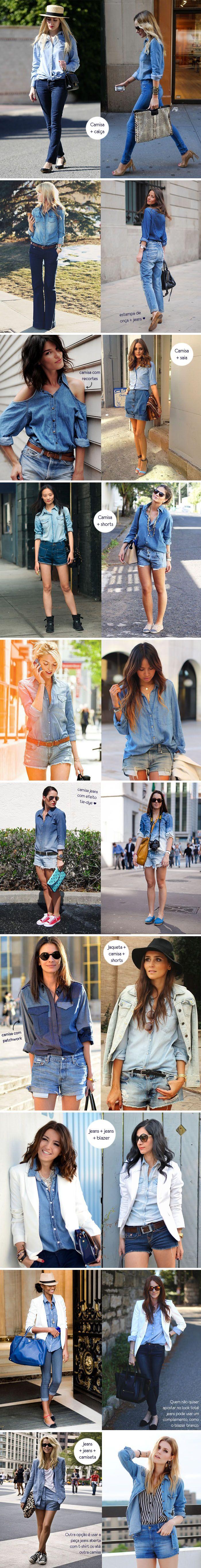 Inspiração como usar look total jeans!! Gosto Muito!! <3