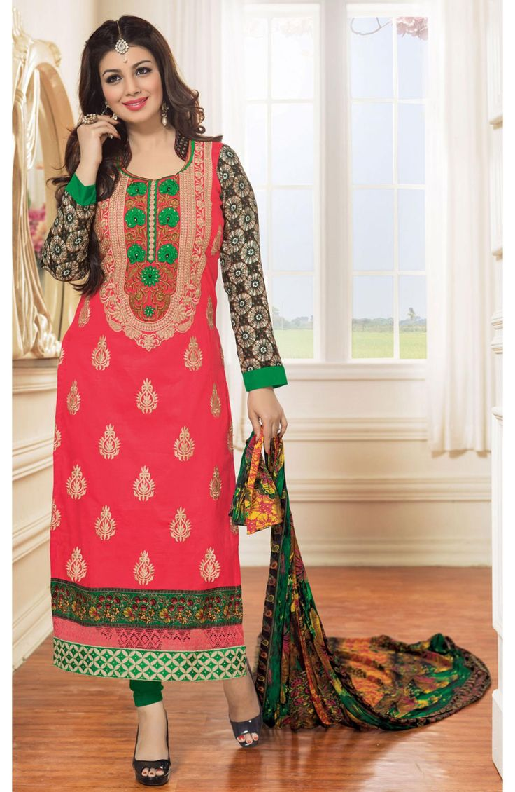 Steal the show in this pink and black cotton dress material straight cut suit that is designed for the elegant lady. It has breathtaking crosia lace, resham and zari embroidery adorning the front.  #bananafashions #fashions #ladiessuits #salwarkameez #buyonline #indianfashions #buysuits #outfitting #fashion #ladiesfashion