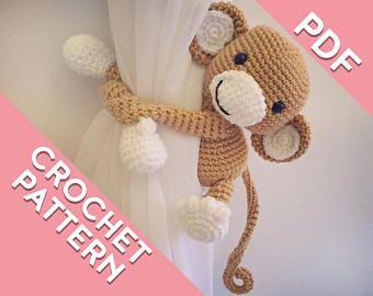 Curtain tie back crochet monkey PATTERN , tieback, left or right side crochet pattern PDF instant download PATTERN