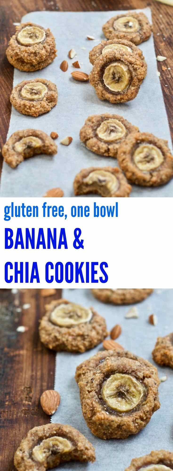 These one bowl banana & chia cookies are also naturally gluten free and couldn't be easier! With only 5 ingredients they make for a great snack or breakfast treat.