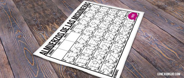 Les compartimos un calendario para que las familias puedan anotarse cada día para el almuerzo de los misioneros.