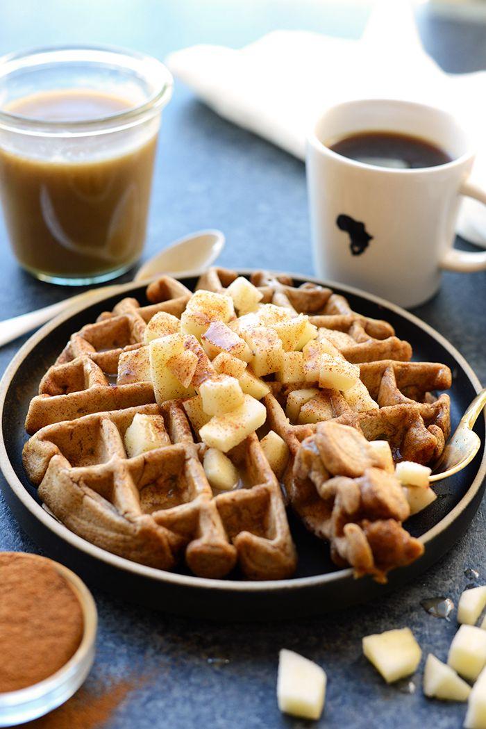HEALTHY Caramel Apple Cinnamon Waffles - Fit Foodie Finds