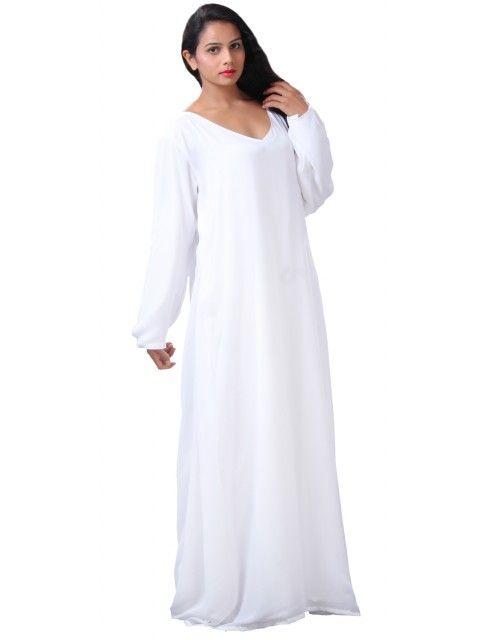Plain  Kaftan - White
