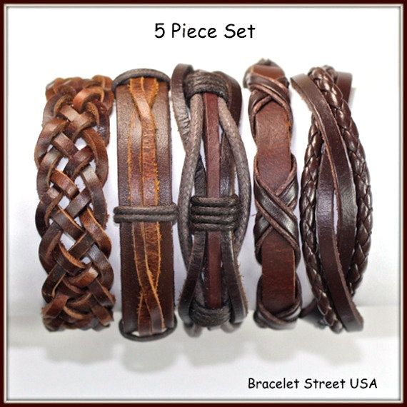 5 Piece Handmade Leather Bracelet Set Leather by BraceletStreetUSA