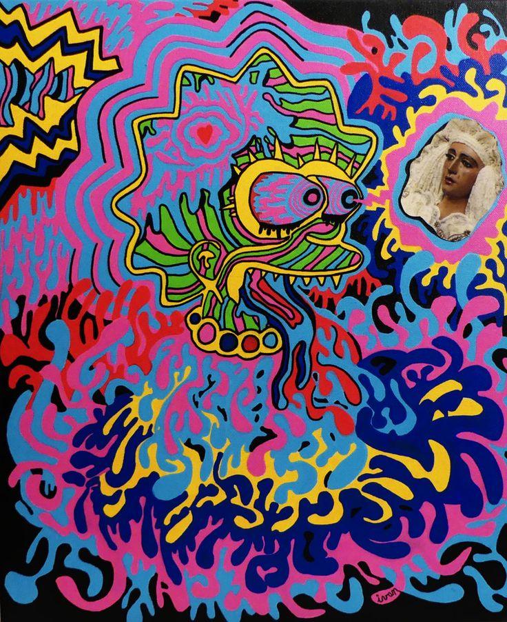*LSD / Lisa Simpson Dream*  38x45  *Ivan de Nîmes* - Peinture,  38x45 cm ©2016 par Ivan De Nîmes -                                                                                                                            Art figuratif, Art naïf, Cubisme, Dada, Expressionnisme, Illustration, Peinture contemporaine, Street Art (Art urbain), Symbolisme, figuration libre, Simpson, Lisa, Dream, art, hallucinogène