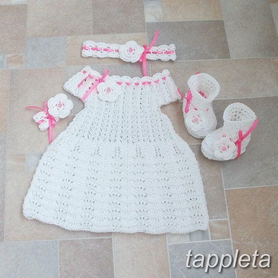 Knitting Baptism set: Dress baby booties headband for by tappleta