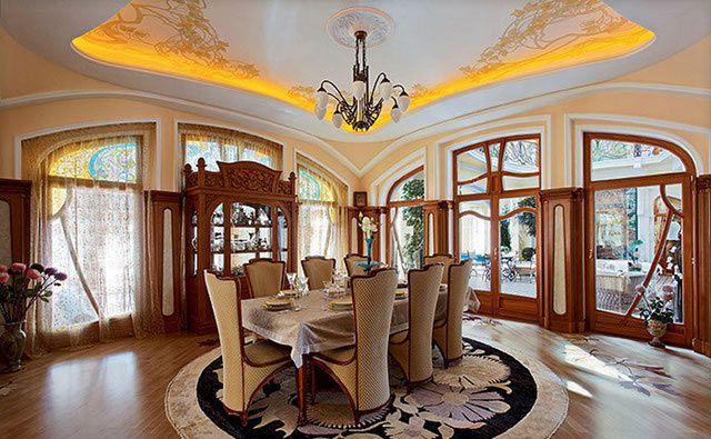 Гостиная в стиле модерн с разнообразными орнаментами в дизайне