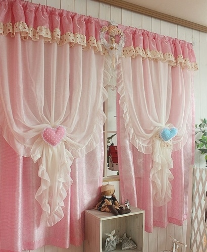 [Stock] Korea curtains purchasing imported white Shalian princess pink living room, bedroom k368-p-ZZKKO